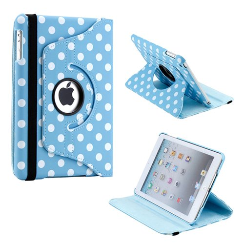 Gearonic TM 360 Degree Rotating Stand Smart Cover PU Leather Swivel Case for Apple iPad Mini and 2013 iPad Mini with Retina Display (Wake/sleep Function) - Blue/White Polka Dot