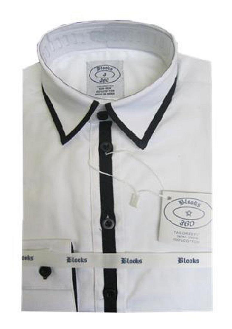 Blooks Boys White Dress Shirt With Colored Trim Wht/Blk 4