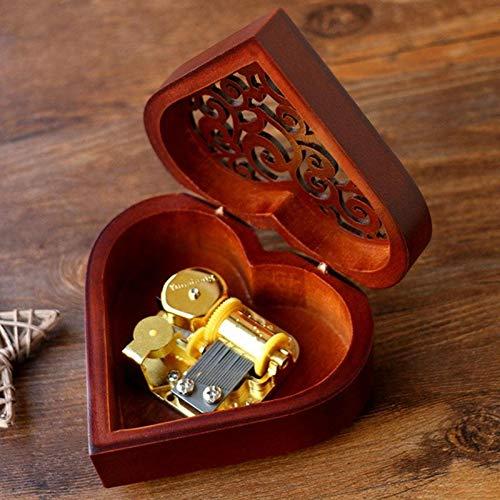 Castillo en el Cielo Shumo Caja Musical de Mecanismo Tallada en Madera Vintage en Forma de Coraz/ón Creativo Caja de M/úsica de Cuerda Regalo para Navidad//Cumplea?os//D/ía de San Valent/ín