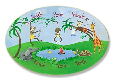 The Kids Room Wash Your Hands Brush Your Teeth Monkeys Oval Wall Plaque from The Kids Room by Stupell