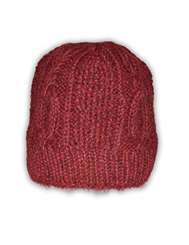 Invisible World Women's 100% Alpaca Wool Hand Knit Cabled Beanie Hat Scarlet ()