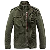 Heihuohua Men's Casual Cotton Stand Collar Military Windbreaker Jacket With Shoulder Straps