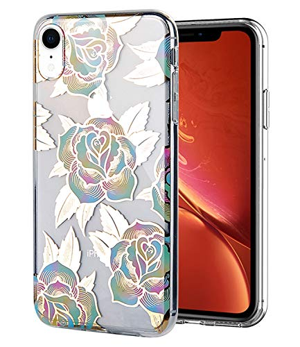 WALAGO iPhone XR Case Clear Design Shiny Gold Foil Elegant Texture Colorful Roses for Girls Flexible Bumper TPU Soft Rubber Silicone Cover Phone Case for iPhone XR 6.1 inch