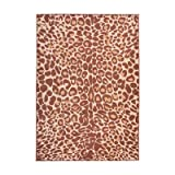 LV 5x7 Brown Orange Leopard Print Area Rug Rectangle, Beige Indoor Safari Jungle Carpet For Living Room Africa Floor Mat Nature Wilderness Wild Animals Wildlife Exotic, Nylon