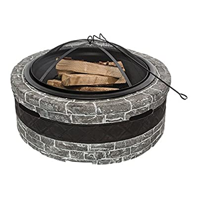 "Sun Joe SJFP28-STN-CS  Fire Joe 28"" Charcoal Gray Fire Pit - Ideal outdoor centerpiece for warmth and enjoyment Durable cast stone base adds a sophisticated touch to any outdoor décor Large 28 in. (73.8 cm) fire bowl accommodates hardwood logs up to 21.5 in. (54.6 cm) long - patio, outdoor-decor, fire-pits-outdoor-fireplaces - 5165A35NvTL. SS400  -"