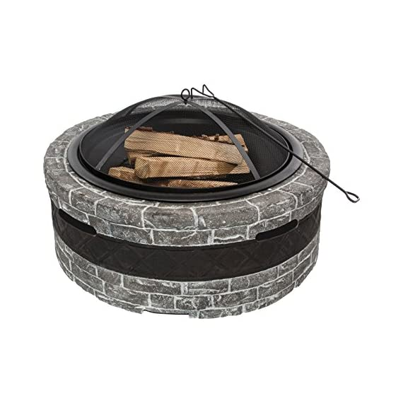 """Sun Joe SJFP28-STN-CS  Fire Joe 28"""" Charcoal Gray Fire Pit - Ideal outdoor centerpiece for warmth and enjoyment Durable cast stone base adds a sophisticated touch to any outdoor décor Large 28 in. (73.8 cm) fire bowl accommodates hardwood logs up to 21.5 in. (54.6 cm) long - patio, outdoor-decor, fire-pits-outdoor-fireplaces - 5165A35NvTL. SS570  -"""