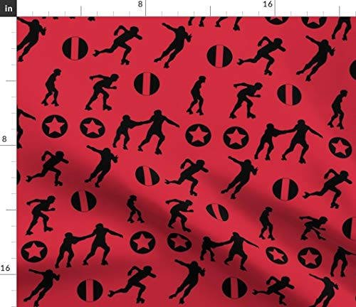 (Spoonflower Roller Fabric - Derby Skate Sport Rollerskating Jammer Pivot by Mokacreative Printed on Organic Cotton Knit Ultra Fabric by The Yard)
