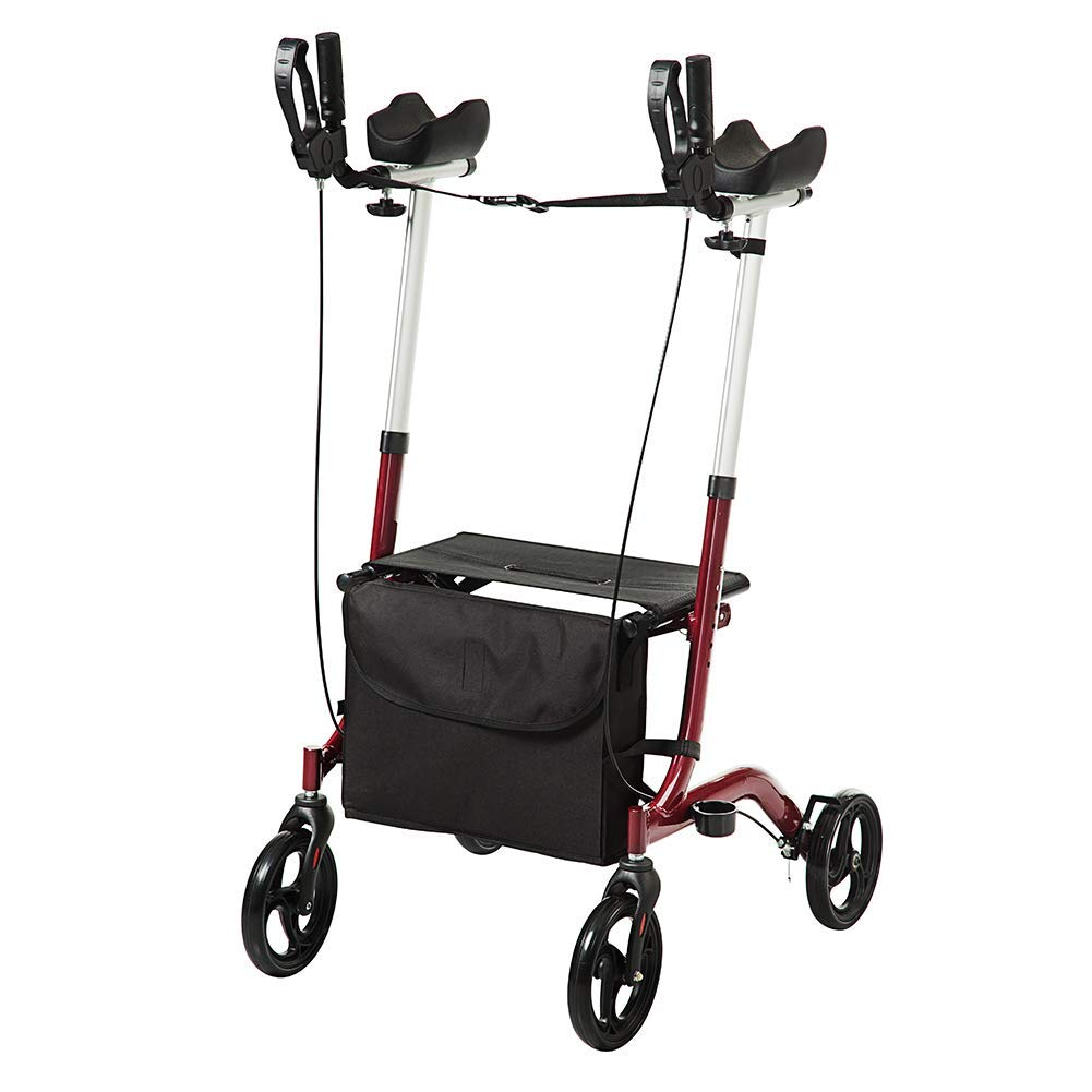 ELENKER Upright Walker, Stand Up Folding Rollator Walker with Padded Armrests for Seniors and Adults, Red by ELENKER
