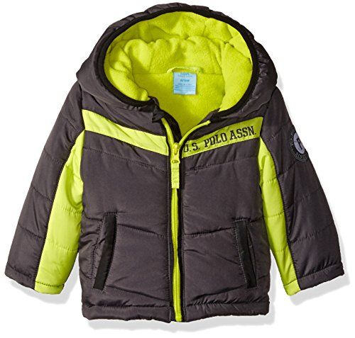 U.S. Polo Assn. Baby Bubble Jacket (More Styles Available), Charcoal with Lime Zippers a, 18M