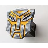 "3.5'' Transformer Autobot Carbon fiber (yellow) 3d Logo Trailer Metal Hitch Cover Fits 2"" Receivers"