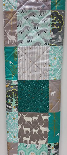 Teal, Aqua, and Gray Rustic Woodland Baby Quilt by Now and Then Quilts