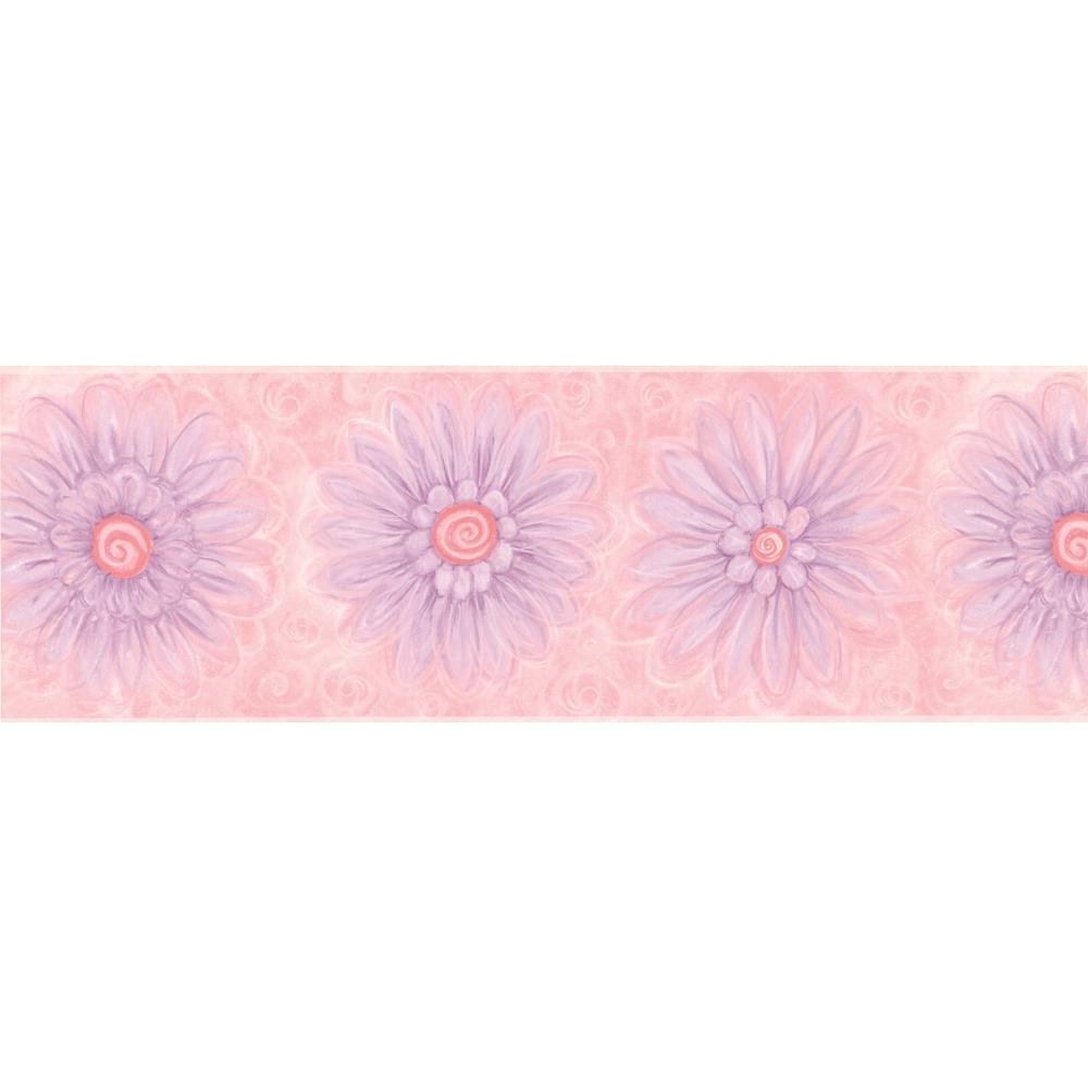 York Wallcoverings KZ4381BSMP York Kids IV Flower Power 8-Inch x 10-Inch Memo Sample Wallpaper-Borders, Pink/Violet