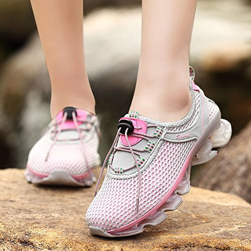 Air Pink for Cushion gray Women Women Men Trainer Sport Unisex Sneaker Breathable Running Couple Shoes Workout Stretch Athletic Epgg41wq