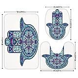 3 Piece Bathroom Mat Set,Hamsa,Eastern Culture Belief Turkish Spiritual Symbol in Retro Arabian Style,Blue Light Blue Purple,Bath Mat,Bathroom Carpet Rug,Non-Slip