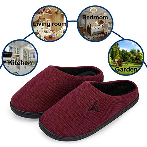 VIFUUR Skid House Indoor Foam Black Anti Slippers Red Cozy Shoes Lining Memory Women's Plush r8wfqZrC