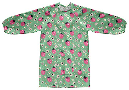 (Ambesonne Nursery Kids Smock,Strawberries and Flowers, Painting Apron, L)