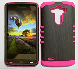 G3 VIGOR, LG G3, VIGOR CASE SHOCKPROOF BUMPER COVER HARD & SOFT RUBBER HYBRID HIGH IMPACT DUAL LAYER PROTECTIVE FOR LG G3 CASE (DARK WOOD PATERN SNAP + HOT PINK SKIN) HARD - MA-TE386 ACCESSORIESNMORE