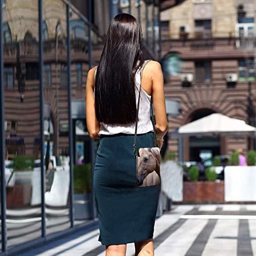 HYJUK Mobiltelefon crossbody väska häst kvinnor PU-läder mode handväska med justerbar rem