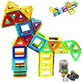 Magnetic Blocks - Magnetic Tiles Building Blocks Set for kids, Magnet Tiles Creativity Educational Building Construction Toys for Girls Boys with Travel Size Storage Bag - 66pcs
