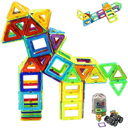 Magnetic Blocks - Magnetic Tiles Building Blocks Set for kids, Magnet Tiles Creativity Educational Building Construction Toys for Girls Boys with Travel Size Storage Bag - 66pcs by EEDAN