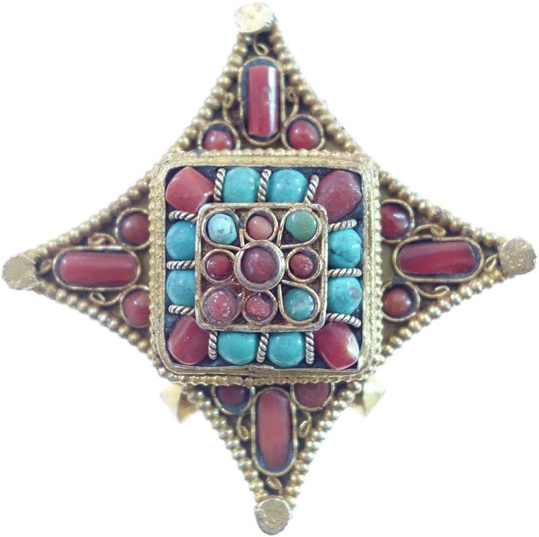 Chapado En Oro Diseñador Medallón Colgante Hecho A Mano Para Mujeres Natural Coral Y Turquesa Piedras Preciosas Moda Étnica Tibetano Budista Bohemio Boho Gitano Amuleto Moderno Joyería Por Artesanos