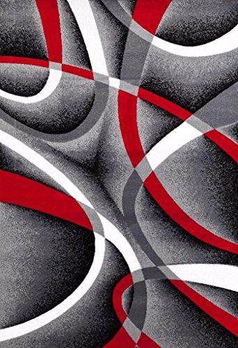 2305 Gray Black Red White Swirls 5u00272 X7u00272 Modern Abstract Area Rug Carpet  By Persian Rugs