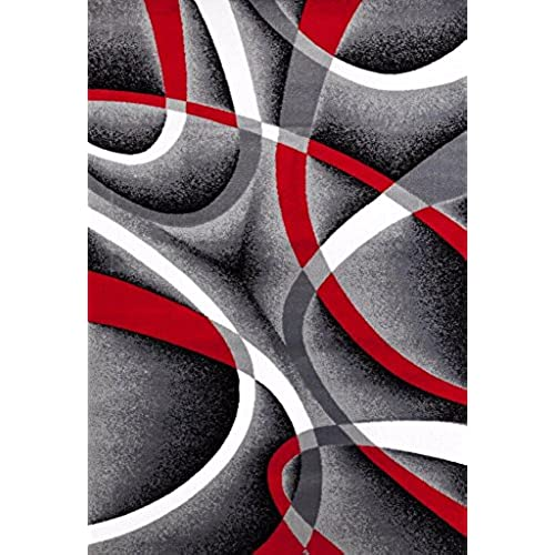 2305 Gray Black Red White Swirls 5u00272 X7u00272 Modern Abstract Area Rug Carpet  By Persian Rugs