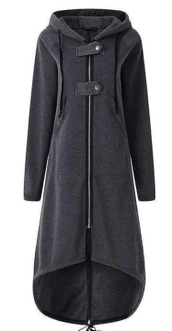 pipigo Women Basic Pockets Asymmetrical Hem Hooded Zip-Up Sweatshirt Jacket