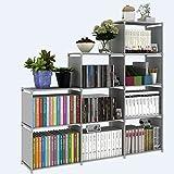 Evokem 4 Layers Folding Kids Bookcase Adjustable Cube Bookshelf [US Stock] (Grey