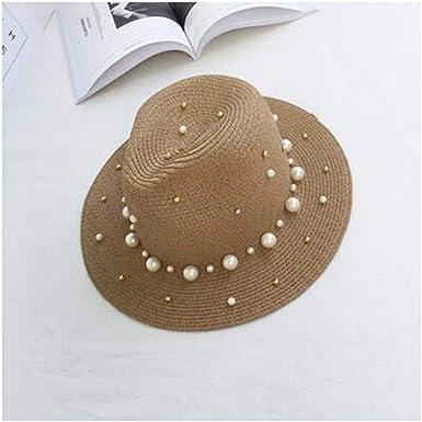 Hot Summer British Pearl Beading Flat Brimmed Straw hat Shading Sun hat Lady Beach hat