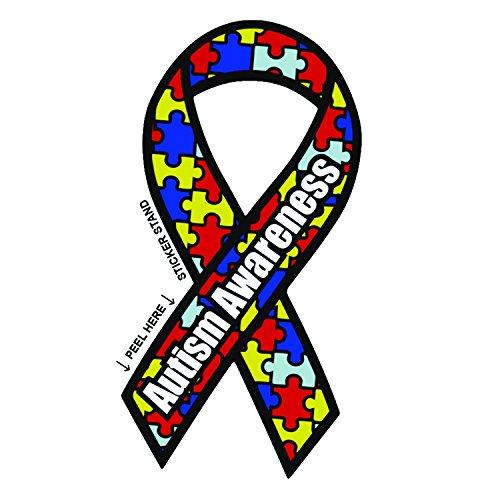 "Autism Awareness Ribbon car bumper sticker 3"" x 6"" for cheap"