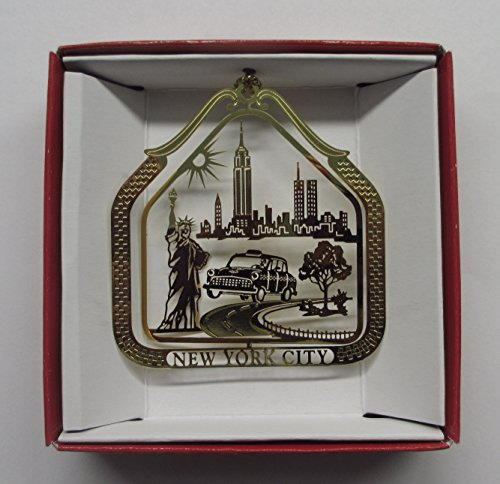 Brass Ornament Old NYC Skyline with Twin - Shop Souvenir Broadway