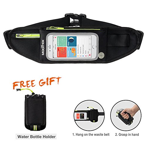 MOOITEK Running Belt Waist Pack Waterproof Hip Bag Reflective Zipper Transparent Touch Screen for iPhone 8/X/7 Samsung S7 for Women Men Travel Cycling with Free Bottle - Van Bag Dries Noten Mens