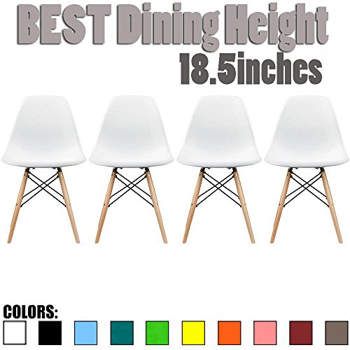 2xhome - Set of Four (4) White - New Seat Height 18.5inches Eames Chair White Natural Wood Legs Eiffel for Dining Room Armless Chairs