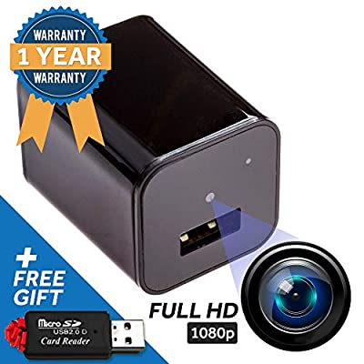 Spy Cam Hidden Security Camera - Ideal Nanny Cam, Disguised USB Phone Charger for Stealth Home Surveillance - Motion Detector, Low-Light, 1080p HD Video - Easy Manual by Geeky Genie