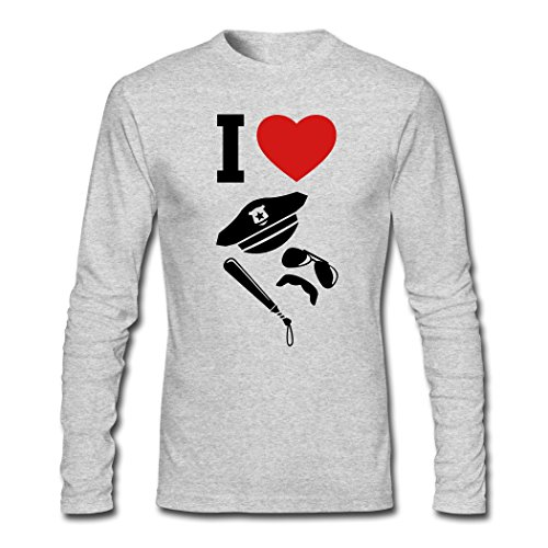 Creative Men's I Love Police Uniforms Carnival Long Sleeve T-Shirts Gray XXL (Police Uniforms For Sale)