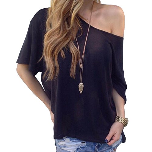 Courtes T Blouses Tops Femme Mode Lisse Tunique Landove Noir Eté Epaules Sans Manches Casual Pull shirt nXxvHqfT