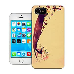 Unique Phone Case Personalities pattern boy with giant quill feather butterflies flying freedom of speech illustration life art design inspiration Hard Cover for iPhone 4/4s cases-buythecase