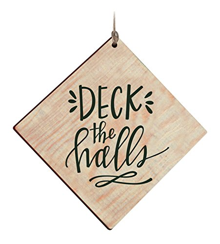 - P. GRAHAM DUNN Deck The Halls Diamond Shape 4 Inch Wood Double Sided Hanging Ornament