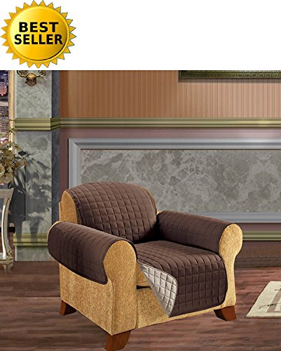 #1 Best Seller Reversible Furniture Protector! Elegant Comfort® Luxury Slipcover/Furniture Protector Great for Pets & Children with STRAPS TO PREVENT SLIPPING OFF, Chair Size, Chocolate/Cream (Slipcovers For Pets)