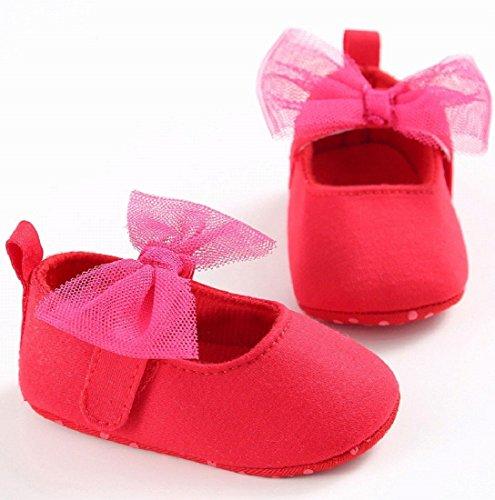 Auxma Zapatos de bebé Bebé Niña Nudo de arco Cuna Suave Toddler Zapatos Para 0-18 mes Rojo