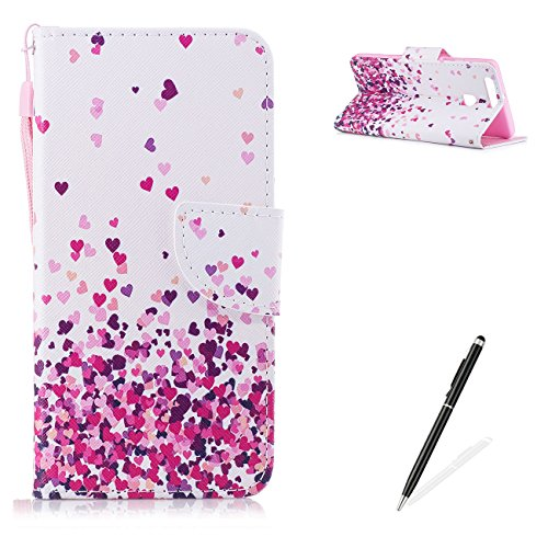- MAGQI Huawei P9 PU Premium Leather Phone Cases, Flowers Panda Unicorn Cartoon Pattern Design Cover and [Scratch Proof] Flexible for Huawei P9 Flip Wallet Shell-Pink Heart
