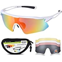 SNOWLEDGE Cycling Glasses UV407 Protection Outdoor Sport Sunglasses with 5 Interchangeable Lenses for Men Women Golfing Driving Racing Skiing