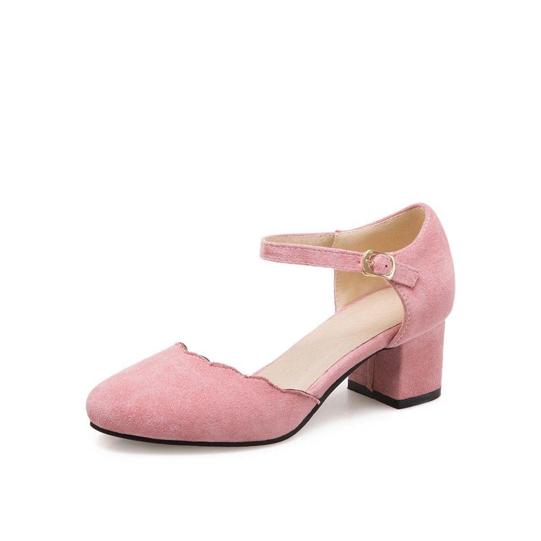 AIKAKA Damenschuhe Fruuml;hling Sommer Wildleder mit Sandalen  36 EU|Pink