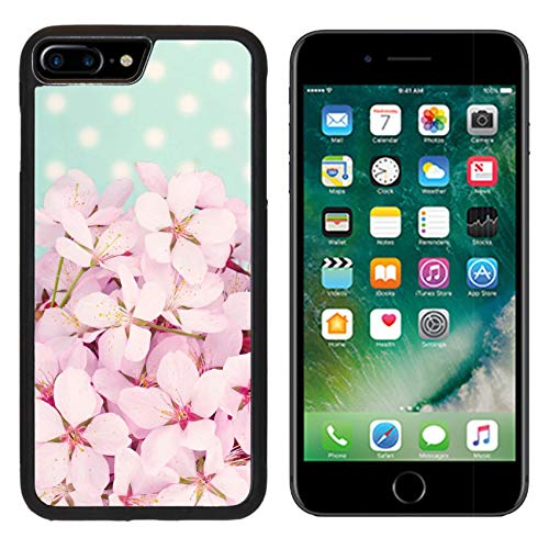 (Liili Premium Apple iPhone 8 Plus Aluminum Backplate Bumper Snap Case Pink Cherry Blossom Flower Bouquet on Light Blue Vintage Polkadot Background Photo 19979131)