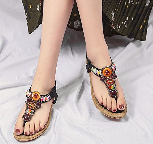 Femme Chaussures Strass Mode Noir Sandales Aisun Vacances Multicolores Plates wSqa6OScHf