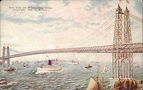 (New York and Williamsburg Bridge New York Original Vintage Postcard)