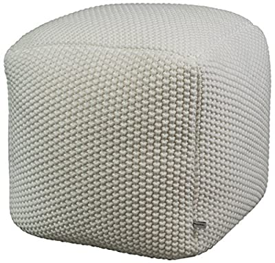 Urban Legacy Crocheted/Knitted Ottoman Pouf (100% Cotton, Handmade, Square, Beautiful, Soft and Lightweight, Available in Four Colors)