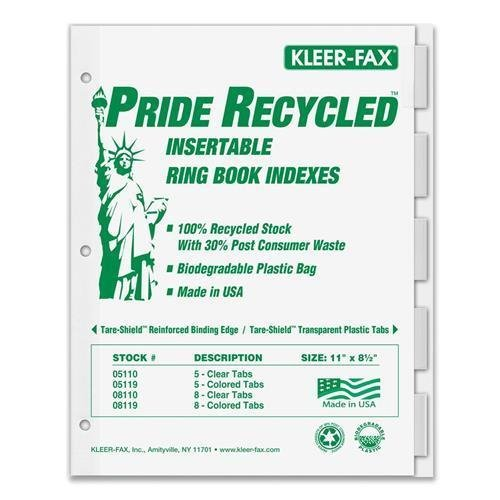 11005 Kleer-Fax Recycled Insertable Ring Book Index - 5 - 8.50