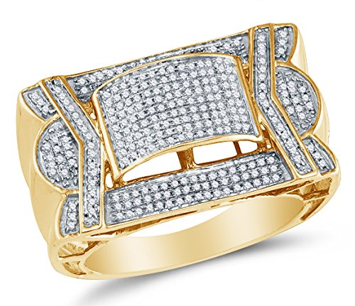 Sonia Jewels Size 9-10K Yellow Gold Round Diamond Mens Fashion Ring - Micro Pave Setting (3/5 (9k Gold Pave Diamond)